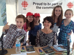 Susan Hughes with CBC's Kids Book Club at Halifax's The Word On the Street, after being interviewed by the kids about Off to Class: Incredible and Unusual Schools Around the World. Photo courtesy of CBC.